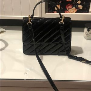 Patent faux leather crossbody bag